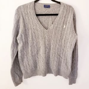 Ralph Lauren gray cable knit v neck sweater